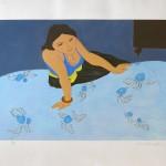 Pierre BONCOMPAIN - Au bord du lit. 64 x 77 cm – 1200 €
