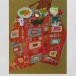 Les primevères sur le kilim. Lithographie 64 x 79,5 cm – 1200 €